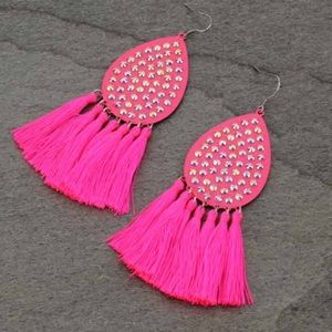Jewelry - Tear Drop with Tassel Fish Hook Earrings